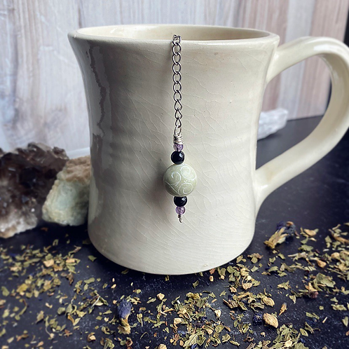 Carved Jade, Black Agate, & Amethyst Beaded Crystal Tea Infuser