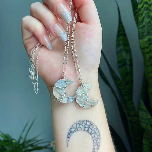 Angel Aura Chalcedony Moon Necklace