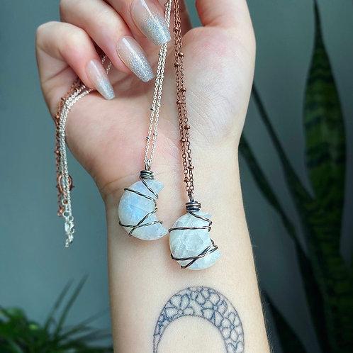 Rainbow Moonstone Moon Necklace
