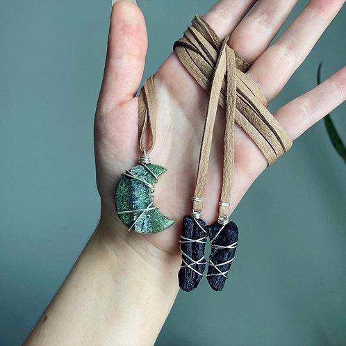 Swiss Opal Moon & Tektite Wrap Necklace