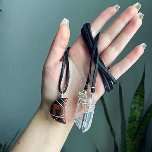 Mahogany Obsidian Moon & Clear Quartz Wrap Necklace