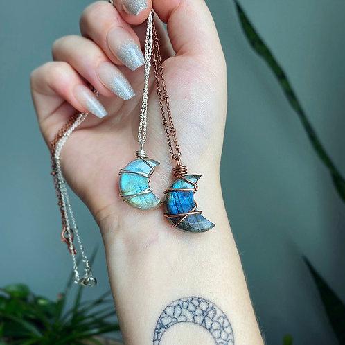 Labradorite Moon Necklace