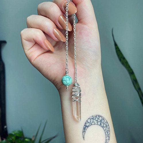 Clear Quartz & Turquoise Pendulum