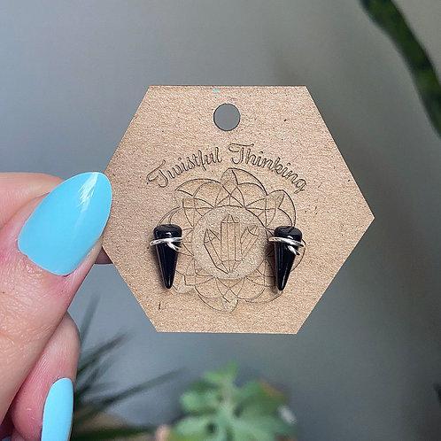Black Glass Stud Earrings