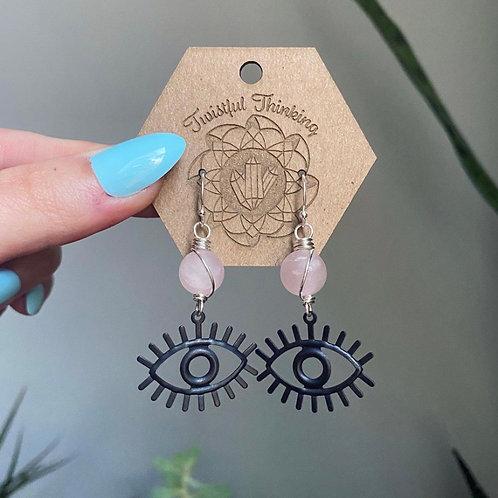 All Seer Earrings - Rose Quartz