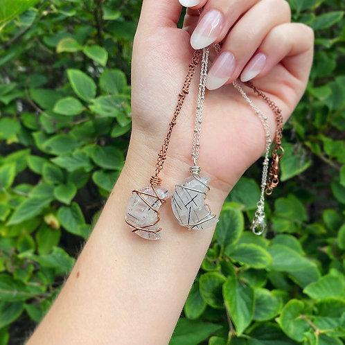 Tourmaline Quartz Moon Necklace