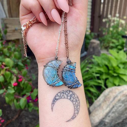 Floral Carved Labradorite Moon Necklace