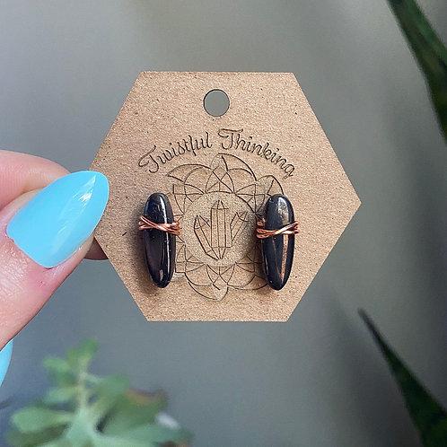 Black Titanium Aura Quartz Stud Earrings - Copper