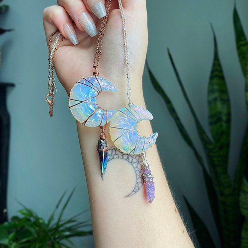 Dripping Angel Aura Opalite Moon Necklace