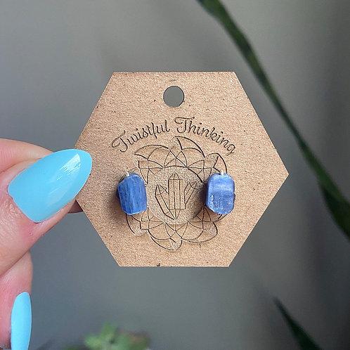 Raw Blue Kyanite Stud Earrings