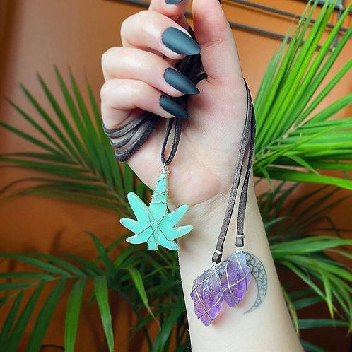 Chrysocolla Canna Leaf & Amethyst Wrap Necklace