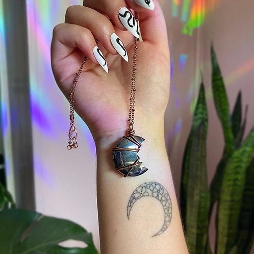 Hematite Moon Necklace