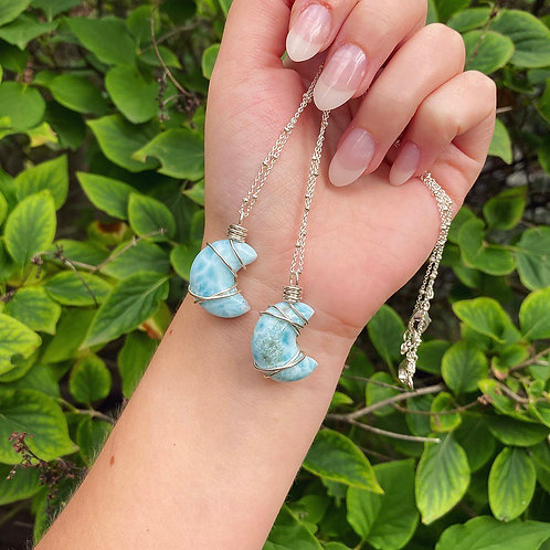 Larimar Moon Necklace