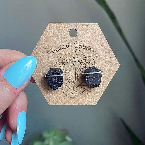 Black Tourmaline Line Stud Earrings - Sterling