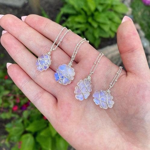 Rainbow Moonstone Flower Necklace