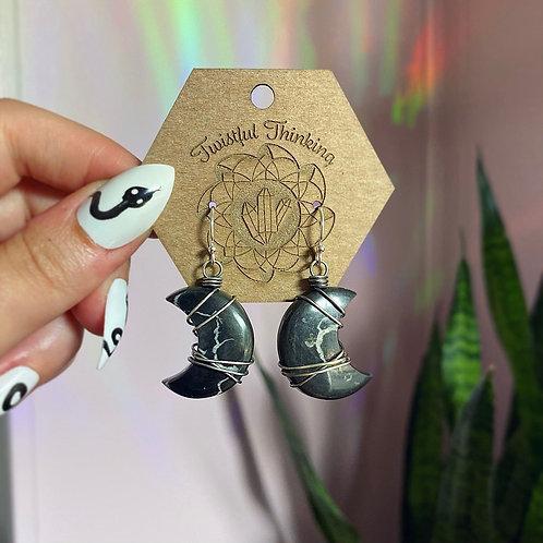 Septarian Moon Earrings