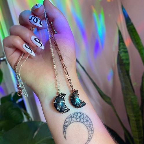 Arfvedsonite Moon Necklace