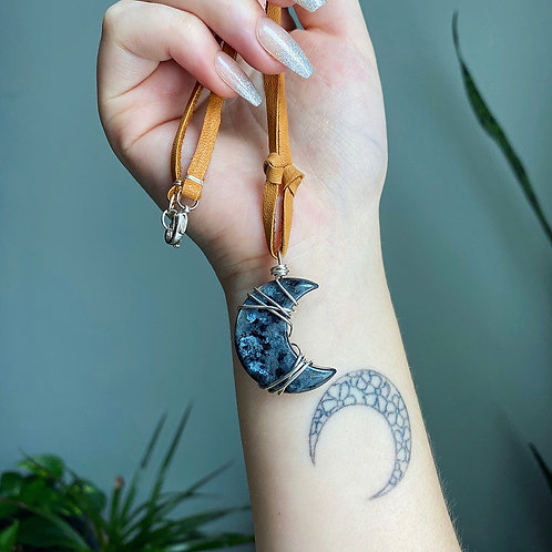 Larvakite Moon Necklace