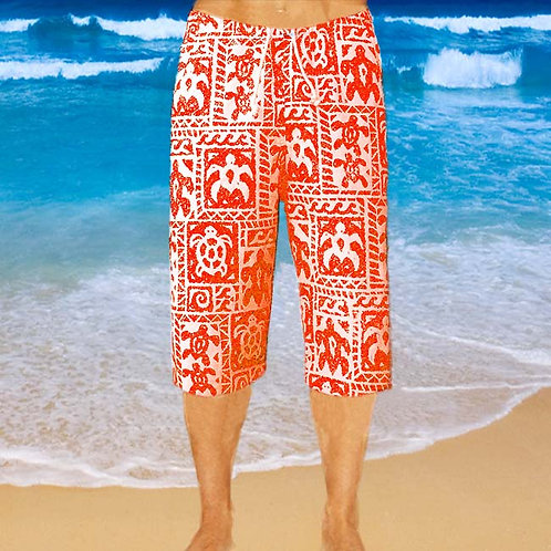 Cotton Capris - Red Turtle Pattern