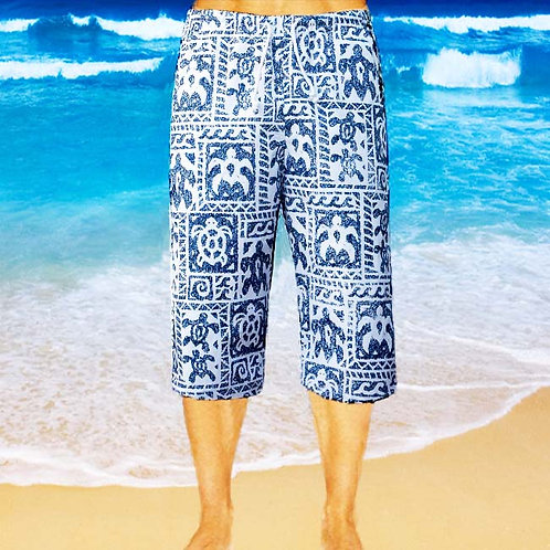 Cotton Capris - Navy Turtle Pattern