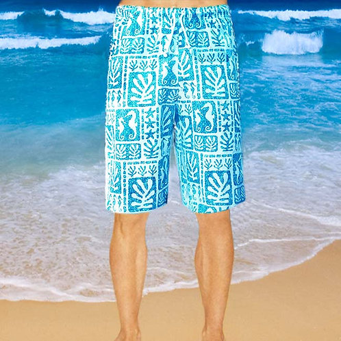 Cotton Shorts - Sky Seaweed Pattern