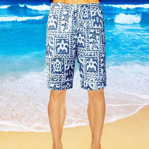 Cotton Shorts - Navy Turtle Pattern