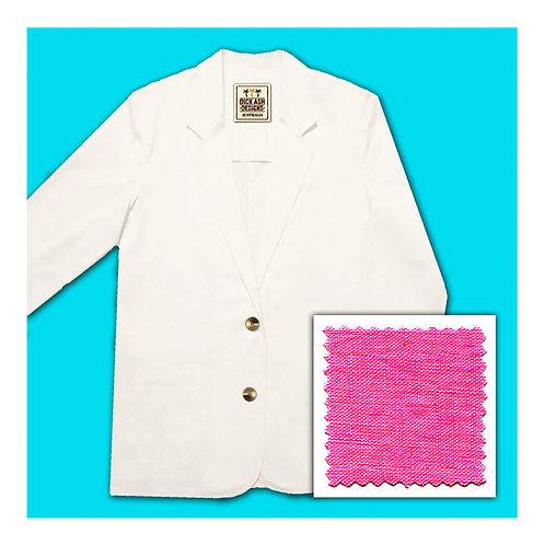 Womens Linen Jacket - Fuchsia