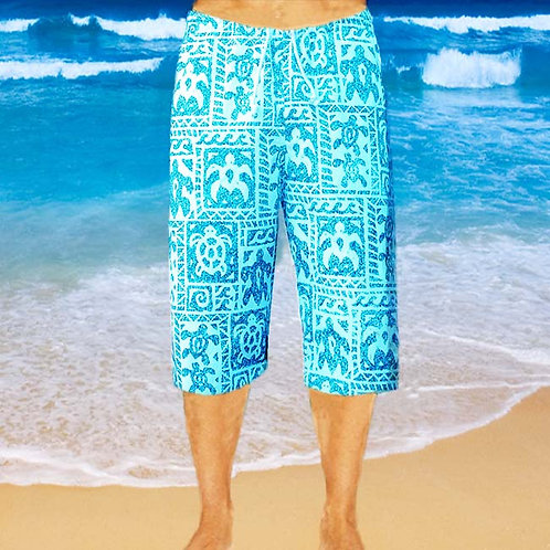 Cotton Capris - Sky Turtle Pattern