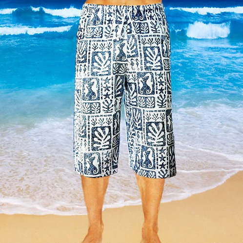Cotton Capris - Navy Seaweed Pattern
