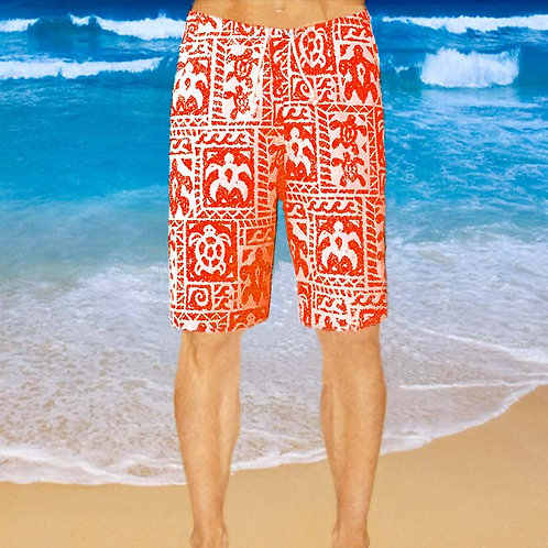 Cotton Shorts - Red Turtle Pattern