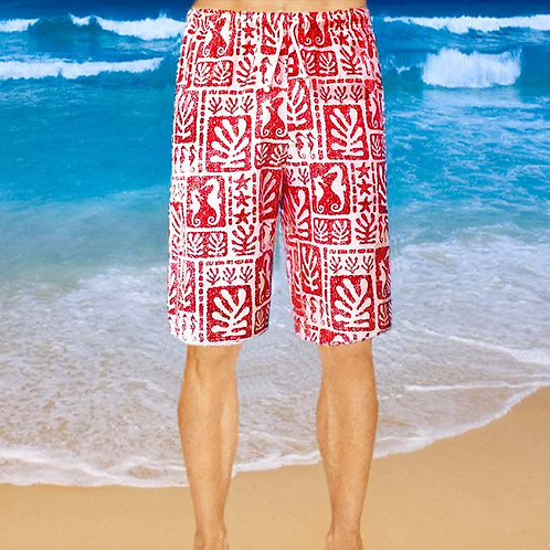 Cotton Shorts - Red Seaweed Pattern