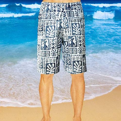 Cotton Shorts - Navy Seaweed Pattern
