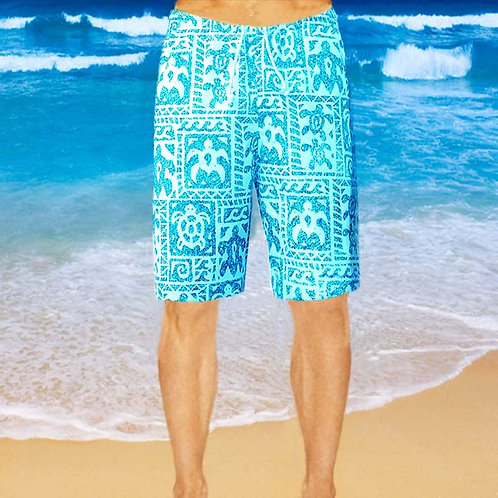 Cotton Shorts - Sky Turtle Pattern