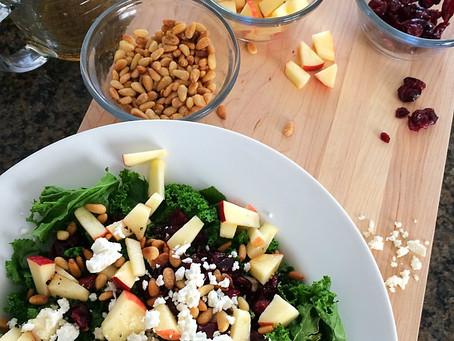 Healthy & Super simple Salad || Warm Kale & Apple Salad with Honey Apple vinaigrette