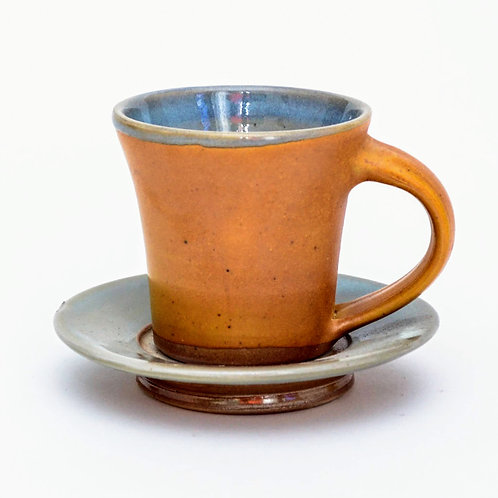 Woodfired Stoneware Teacup and Saucer Set