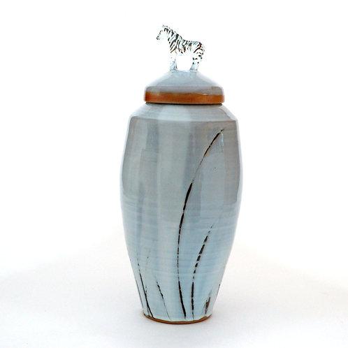 Tall Jar With Zebra