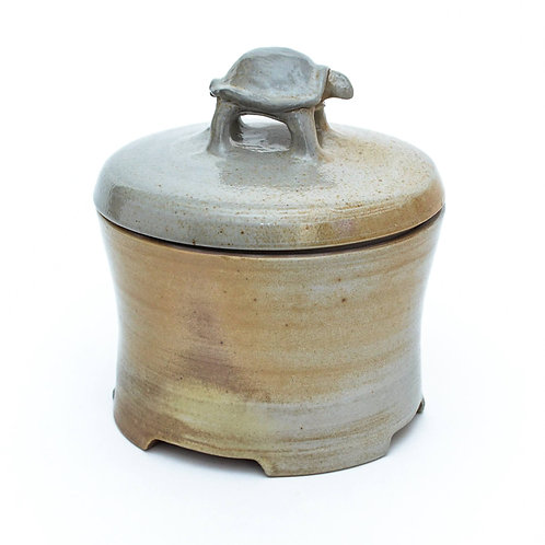 Woodfired Stoneware Treasure Box With Tortoise