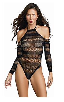 Dreamgirl Cold Shoulder Mesh Teddy