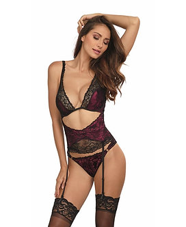 Dreamgirl Teddy with Black Lace Overlay