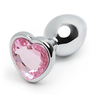Stainless Steel Heart Plug with Jewel