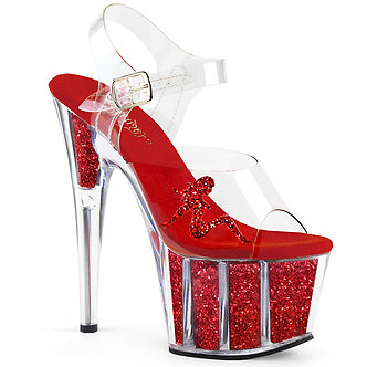 Pleaser - Adore - 708GTG - Clear/Red Glitter