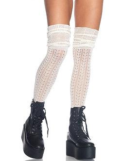 Pointelle Over The Knee Scrunch Sock