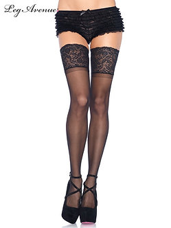 """Leg Avenue - Sheer Thigh Highs with 5"""" Stay Up Lace Top"""