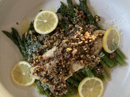 Lake Trout and Steamed Asparagus with Toasted Walnut Salsa