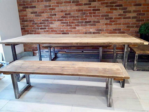 Reclaimed wood and steel set