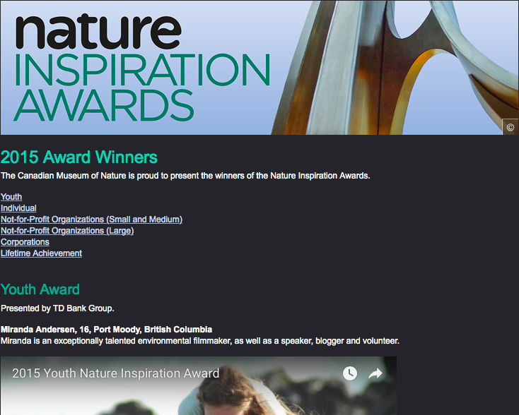 2015 Youth Nature Inspiration Award