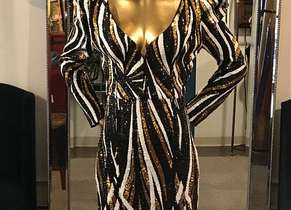 Black white gold spiral design sequin dress