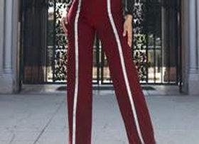 High waist Wine Glitter detail pants