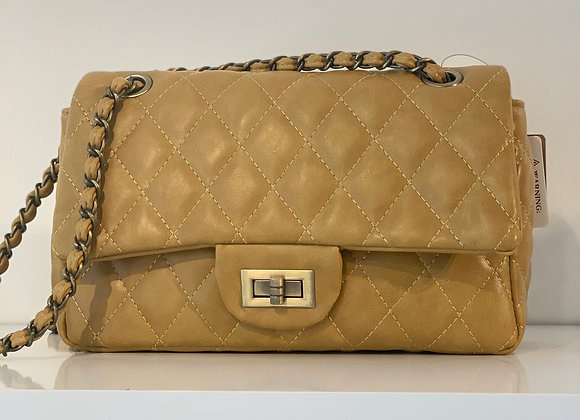 Quilted Faux Leather Mustard Handbag