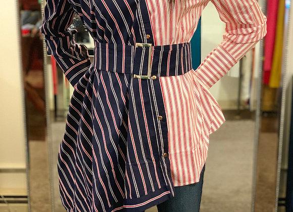 Striped Asymmetrical Blouse